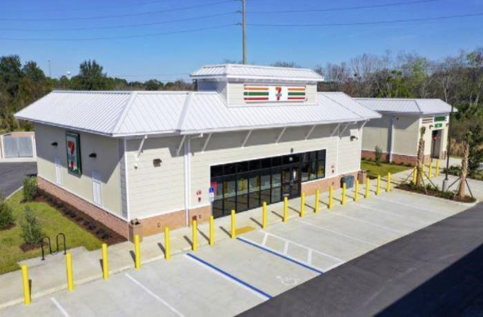 Aerial view of new 7-Eleven building and car wash.