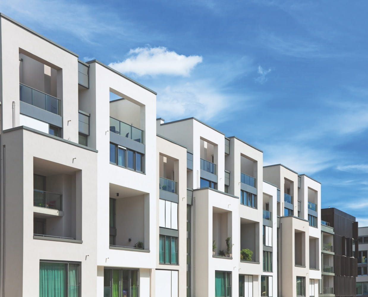 modern apartments with blue sky